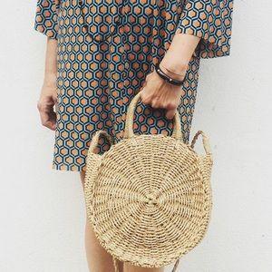Handbags - Beige Straw cross Body Bags